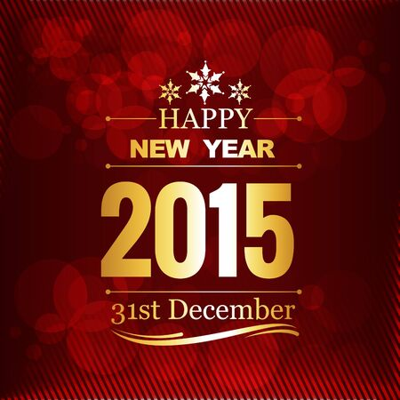 new year's eve: new year greeting design written in golden and placed above red background Illustration