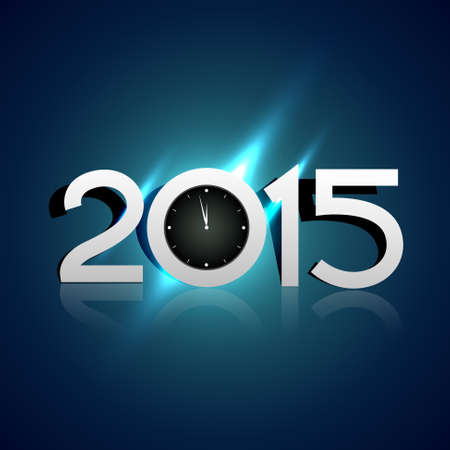 towards: creative 2015 design with clock pointing towards 12am vector Illustration