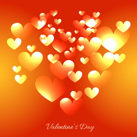 multiples: vector valentine day card with multiples hearts in gradient background