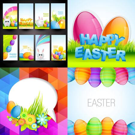 vector collection of colorful easter background and gift card illustration Vector