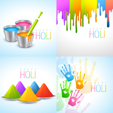 vector collection of holi designs with pichkari, bucket, colorful hand and gulal Vector