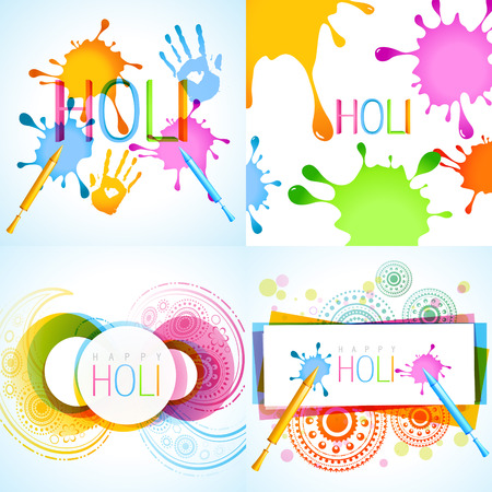 hindus: vector collection of holi background with different colors