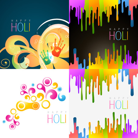 vector set of happy holi background with different colors