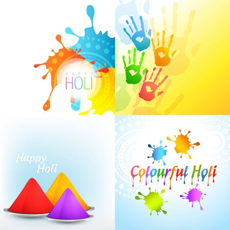vector bunch of holi background with colorful gulal Vector