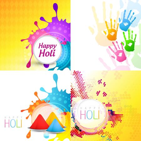 indian festival: vector set of holi background with different colors