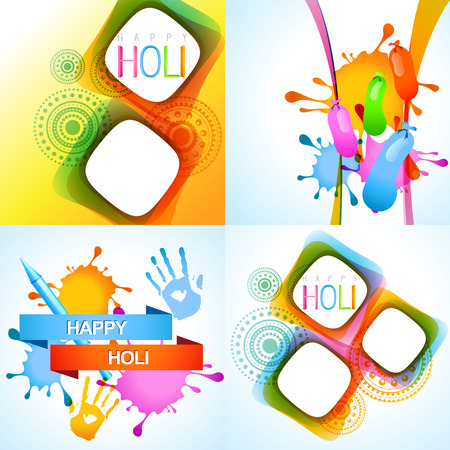 rang: vector illustration of holi background with pichkari, balloon and colorful hand