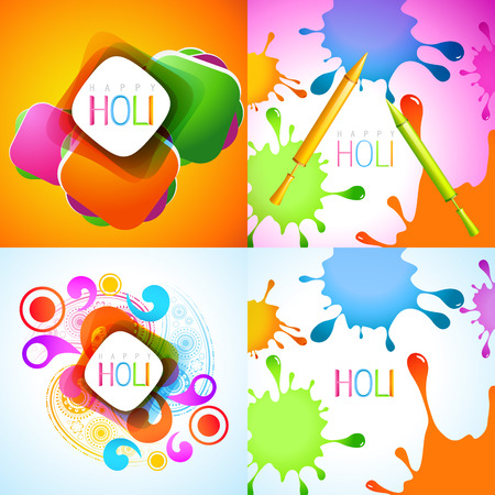 hindus: vector set of holi background with colorful splashes and pichkari Illustration