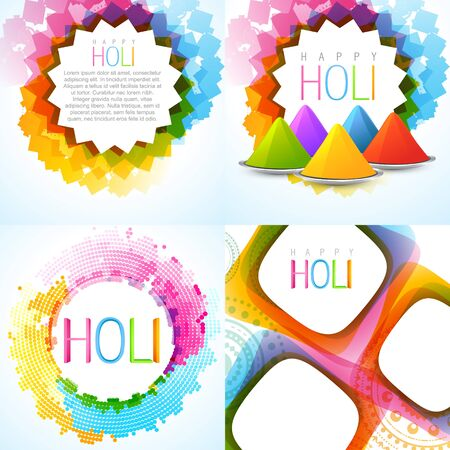 hindus: vector colorful holi background set with rang of gulal