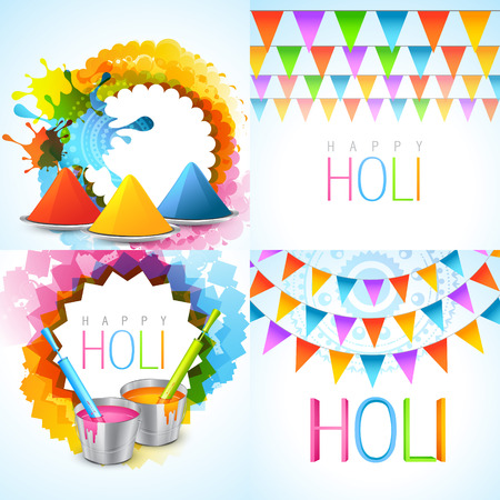 hindus: vector bunch of holi background illustration with different colors