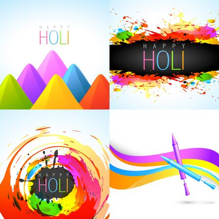 gulal: vector collection of  holi background with gulal and pichkari illustration Illustration