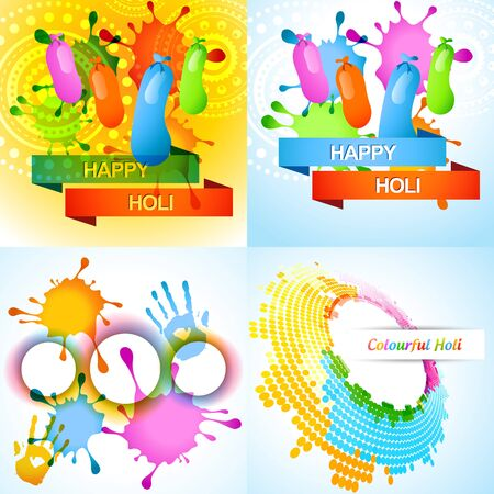 vector attractive set of holi background with colorful splashes and balloon Vector