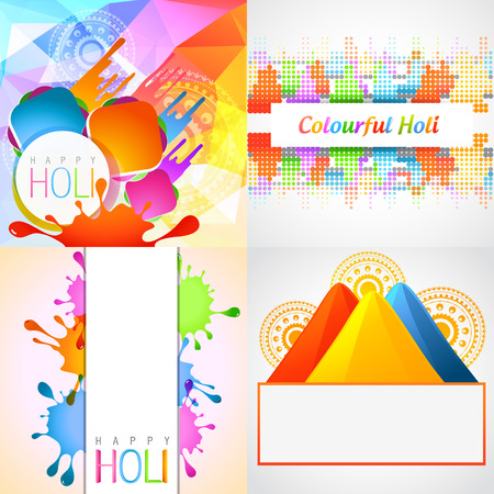 hindues: conjunto de vectores de fondo con Holi colorido gulal Vectores