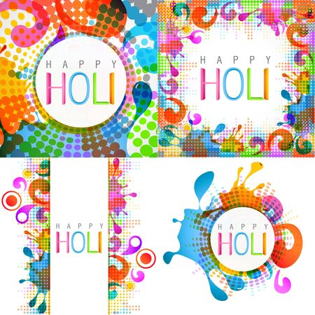 hindus: vector attractive set of holi design with colorful splashes Illustration