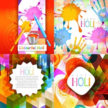 vector set of colorful holi design with pichkari splashes , paint bucket and colorful hand Vectores