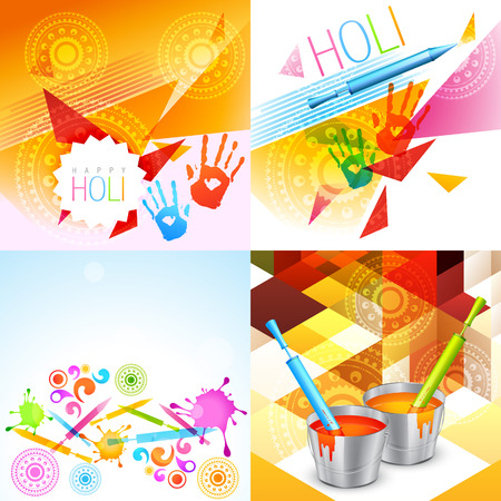 vector colorful holi background collection with pichkari in the bucket and colorful hands Vectores
