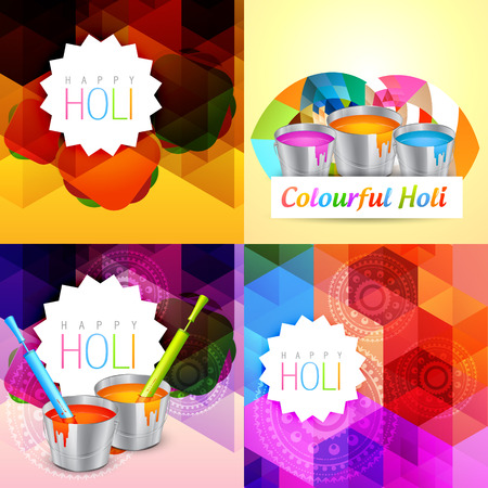 vector set of holi background with colorful paint bucket illustration Vectores