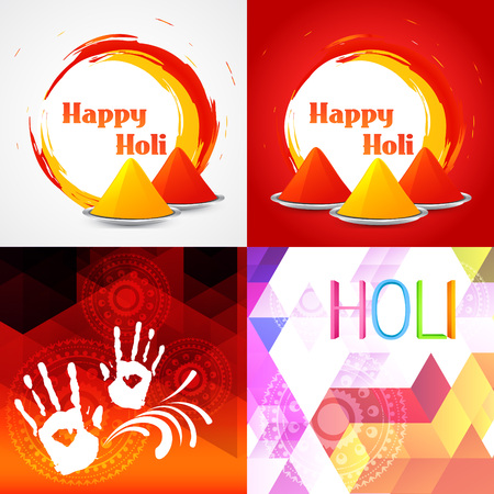 hindus: vector set of colorful happy holi background Illustration