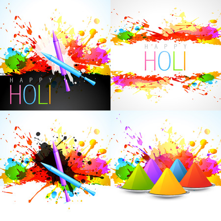 hindus: vector set of holi background with pichkari and gulal illustration