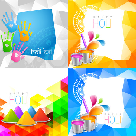 rang: vector attractive set of holi background with space for some text