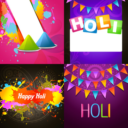 hindus: vector colorful collection of holi background illustration