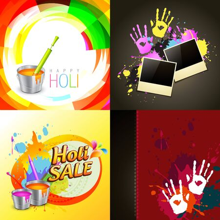 hindus: vector set of different holi background illustration