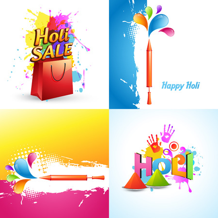 gulal: vector set of different holi background with holi sale offer, pichkari and colorful gulal