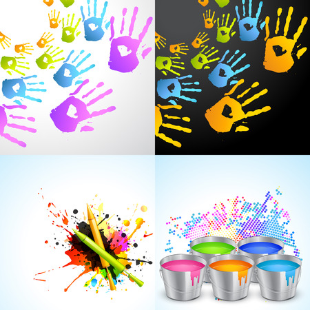 gulal: vector set of holi background illustration with pichkari , hand and bucket illustration Illustration