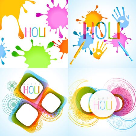 hindus: vector colorful set of holi background illustration