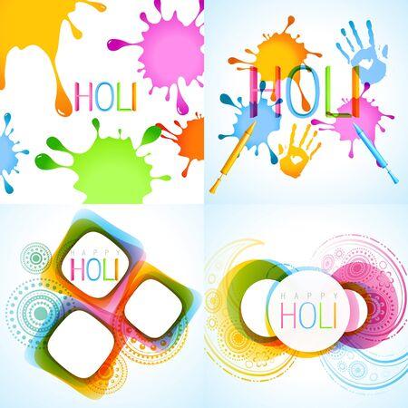rang: vector colorful set of holi background illustration