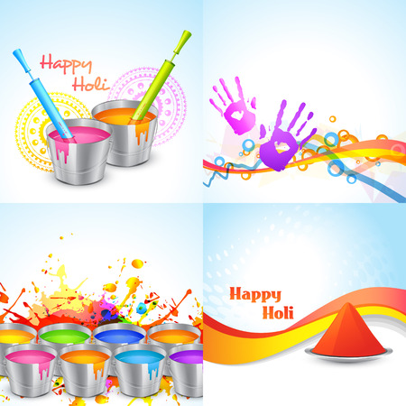 gulal: vector set of happy holi design with bucket, pichkari and gulal Illustration