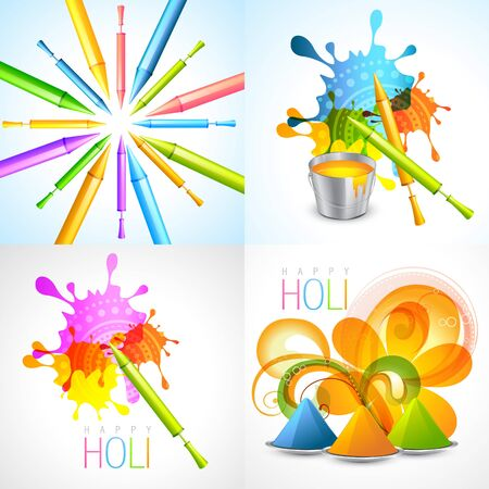 gulal: vector set of holi background with pichkari and gulal illustration