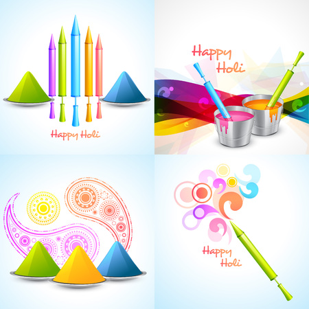 gulal: vector set of different colors of holi designs  with pichkari , gulal, bucket illustration