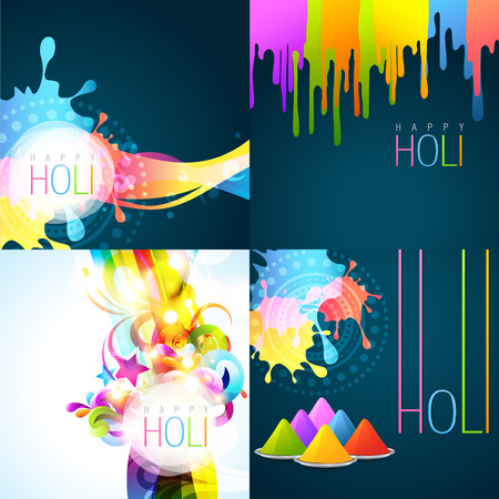 festival people: vector set of holi background with colors of gulal Illustration