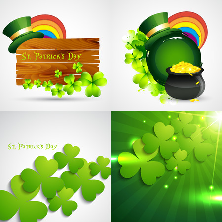 17th march: vector collection of st. patricks  day background illustration Illustration