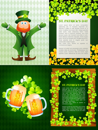 patrick s: vector collection of saint patrick s day background illustration with  leprechaun cartoon, beer mug and space for your text