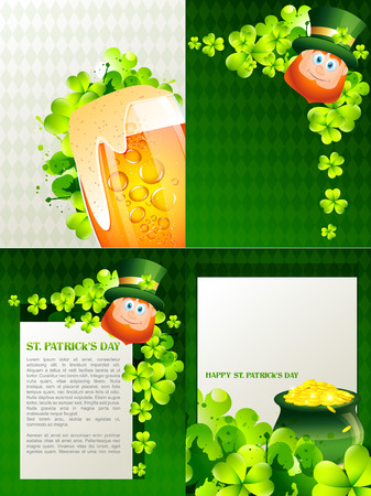 17th march: vector creative set of st. patricks holiday background with space for your text Illustration