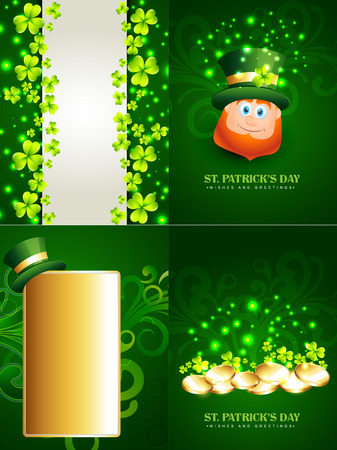 17th march: vector set of saint patricks day background illustration with  leprechaun, gold coins and hat with space for your text Illustration