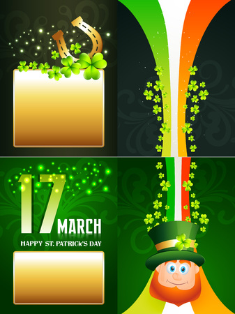 vector set of saint patricks day background illustration of  leprechaun and horseshoe with  sapce for your text Vector