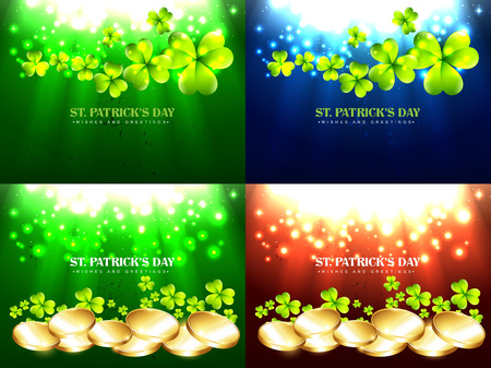 17th: vector set of saint patricks day background illustration with gld coins and clover