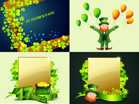 cartoon shamrock: vector creative set of st. patricks day background illustration