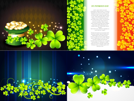 gold leafs: vector set of saint patricks day background with gold coins in hat and clover leafs