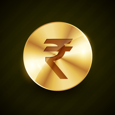 rupee: indian ruppe gold coin with shiny effects vector illustration