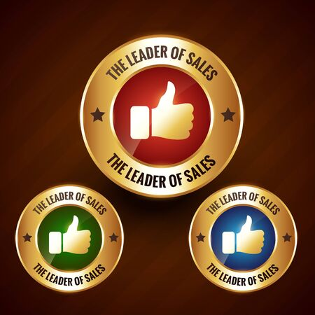 leader of sales vector golden label badge design with set of three different colors Vector