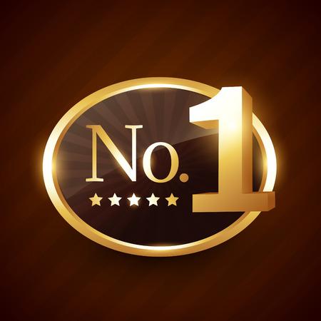 number one brand golden label vector design illustration
