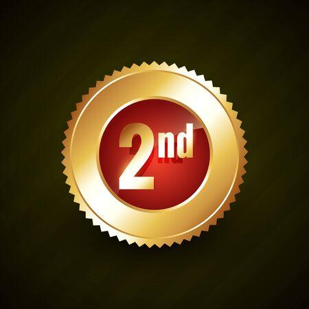 second number vector golden badge design illustration