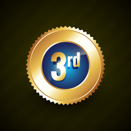 and the third: third number vector golden badge design illustration