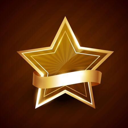 circundante: estrela dourada brilhando com a fita em torno dela Ilustra��o