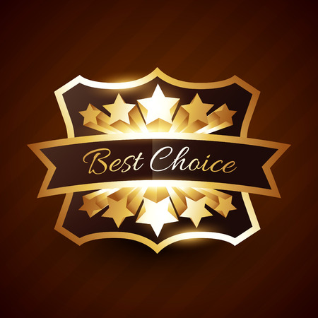 best choice label design with golden stars and ribbon Vector