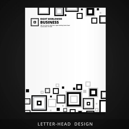 letter head: letter head vector design with square elements illustration