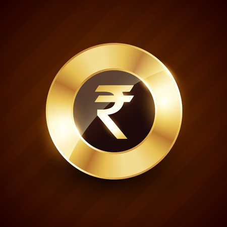 rupee: rupee golden coin design with shiny effects vector design Illustration